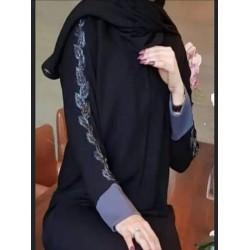 عباية قماش مستقبل كم قلاب تطريز يدوي